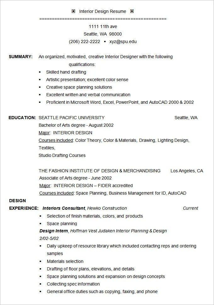 Interior Designer Resume Example Template Resume Example 19 Free Samples  Examples Format