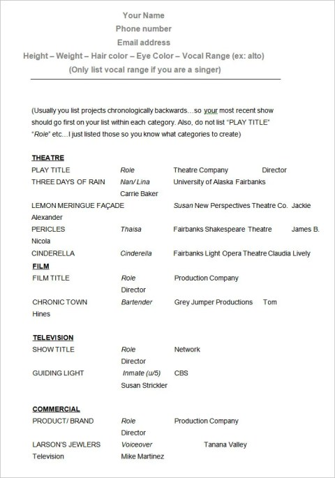 Sample Fill In Acting Resume Templates