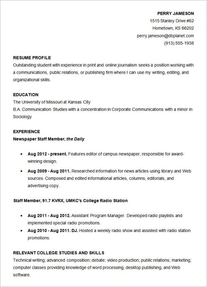 Sample College Resume Template - Resume Sample