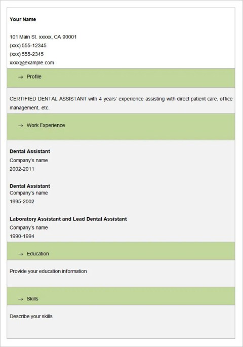 Sample Fill In Dental Assistant Blank Resume Template