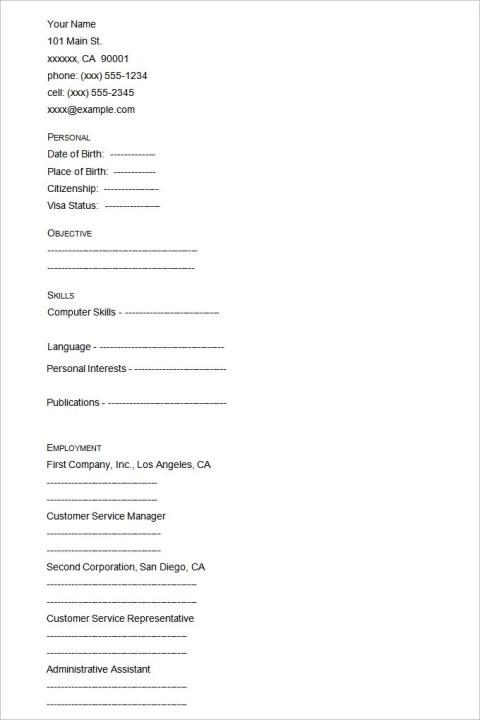 Sample Engineer Blank Resume Templates