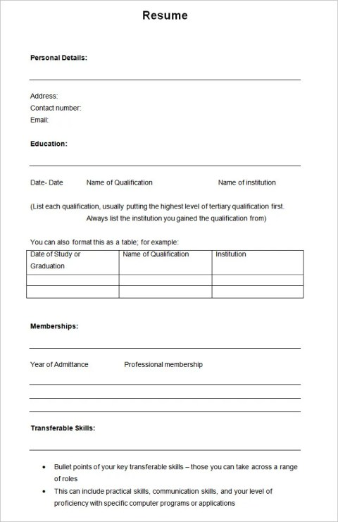 Simple Sample Academic Blank Resume Templates
