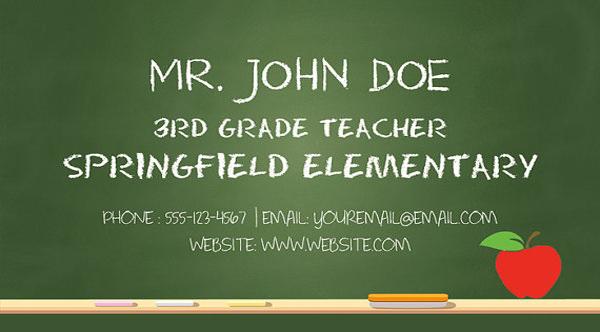 Substitute teacher business card template friedricerecipe Gallery