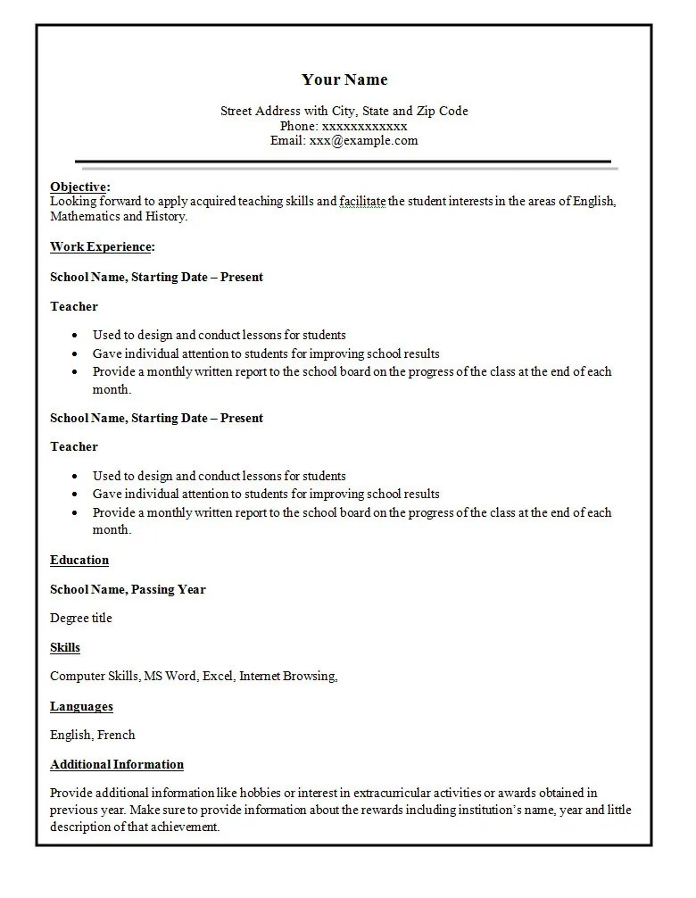 Simple Resume Template 47 Free Samples Examples
