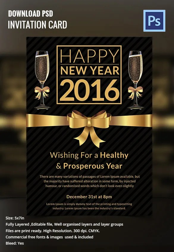 Designer Party New Year Invitation Merry Christmas And Happy New - New years eve party invitation templates free