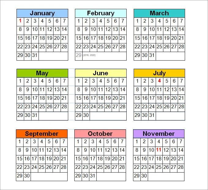 Printable 2014 Blank Free Calendar