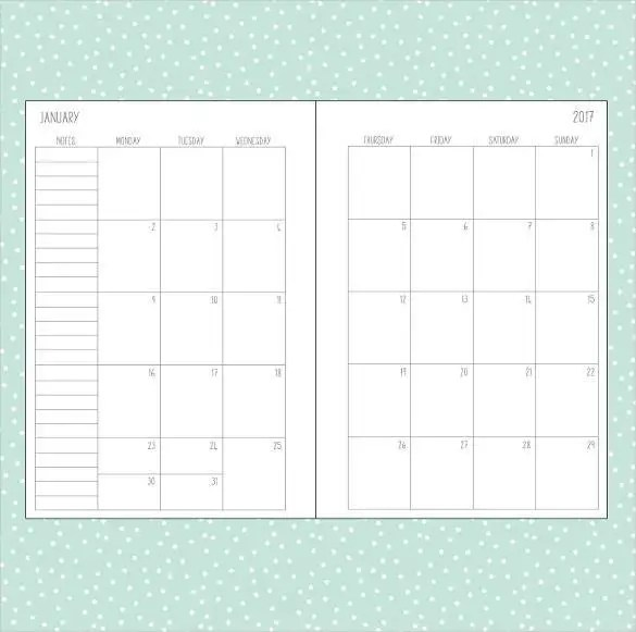 12 Month Calendar Template Printable