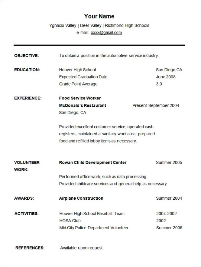 student resume template 21 free samples examples format - High School Student Resume Templates
