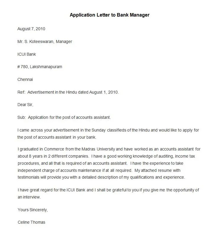 Write Application To Close Bank Account Job Letter For