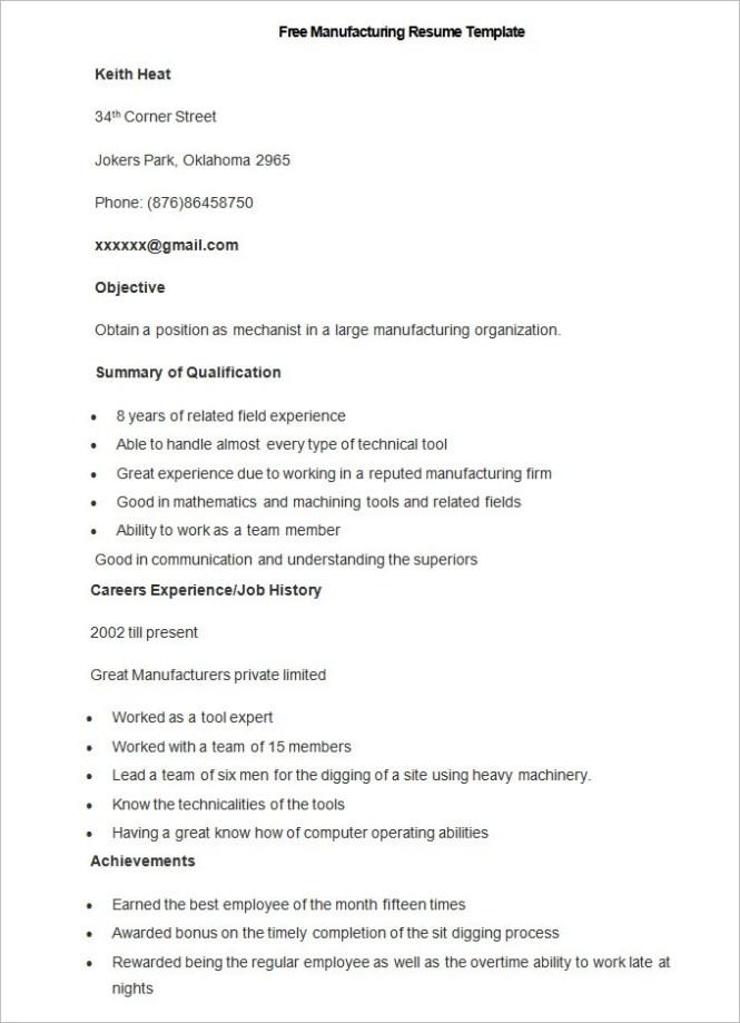 Manufacturing Resume Samples - Resume Sample