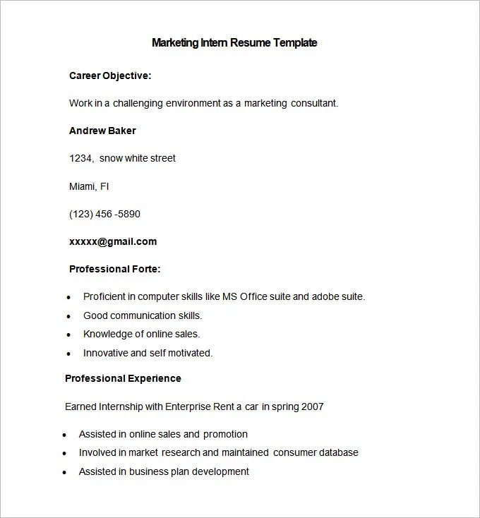 Marketing Resume Template 37 Free Samples Examples Format Internship Resume  Template Download   Resume Template For  Internship Resume Template Microsoft Word