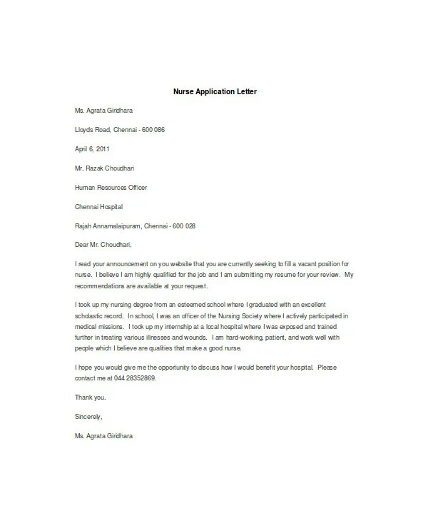 Application Letter Sample Any Vacant