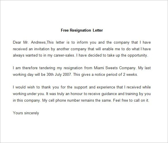 Sample Resignation Letter Of Hr Executive - Cover Letter Templates