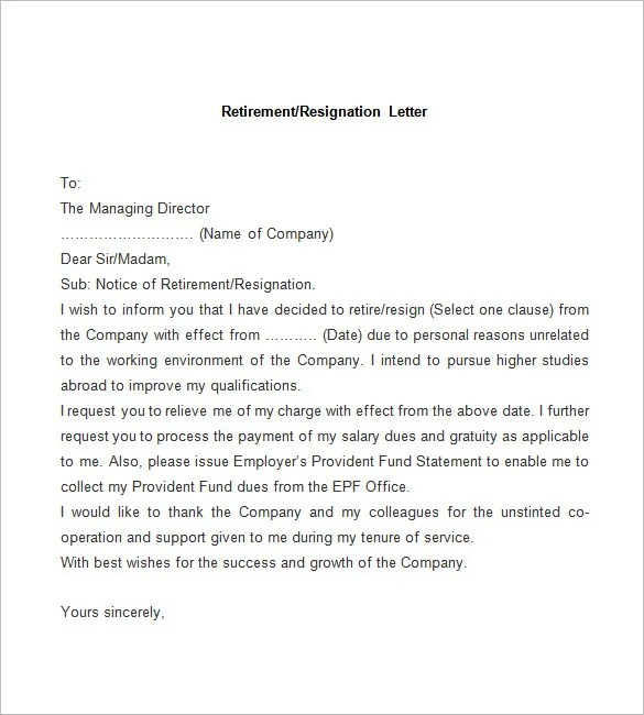 Resignation Letter Due To Retirement | Docoments Ojazlink