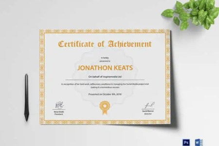 82  Free Printable Certificate Template   Examples in PDF  Word     Certificate Of Achievement Template