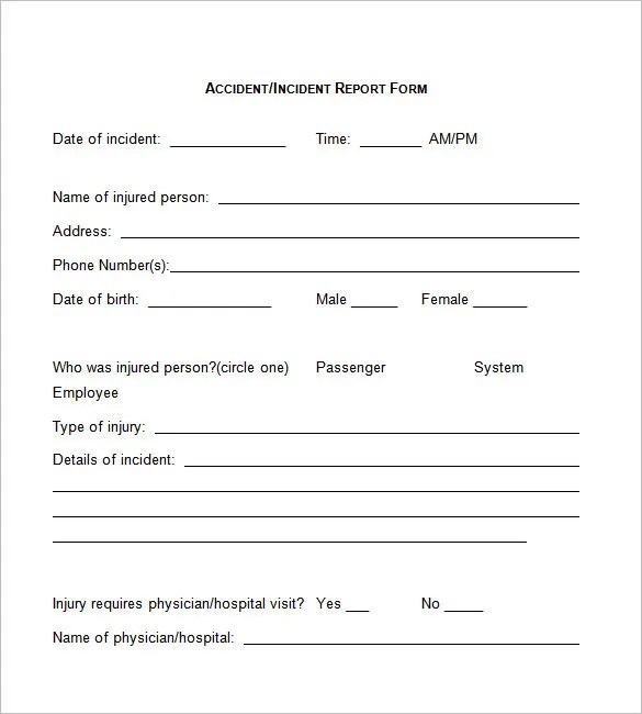 Incident Report Template Word - FREE DOWNLOAD