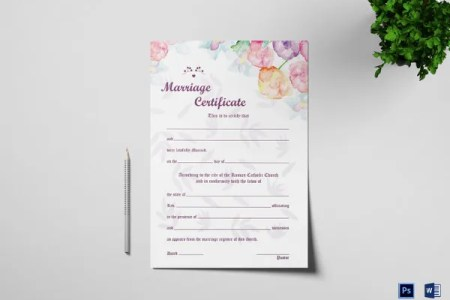 36  Blank Certificate Template   Free PSD  Vector EPS  AI  Format     Blank Watercolor Wedding Certificate Template
