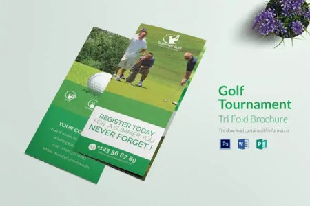 95  PSD Brochure Designs 2018   Free Word  PSD  PDF  EPS  InDesign     Golf Tournament Tri Fold Brochure Template