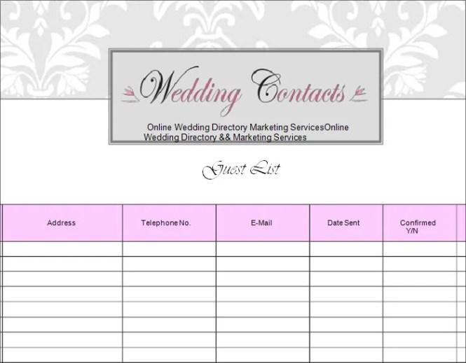 best wedding guest list template