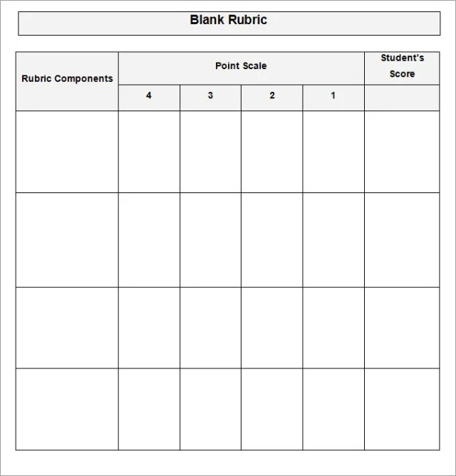 Blank Rubric Template - FREE DOWNLOAD