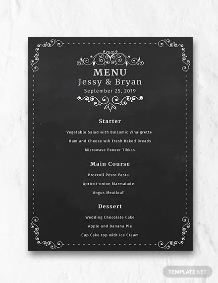 Chalkboard Wedding Menu Template