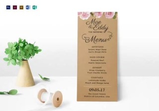 Rustic Wedding Menu Template in PSD