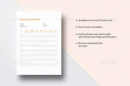 Project Schedule Template   14  Free Excel Documents Download   Free     Simple Construction Schedule Template
