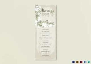 Vintage Wedding Menu Card Template