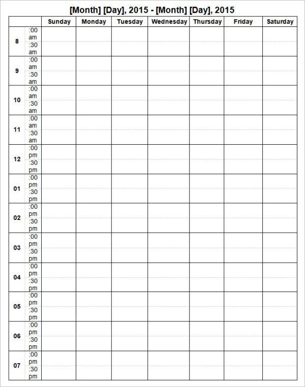 Week Calendar Template 12 Free Word Documents Download