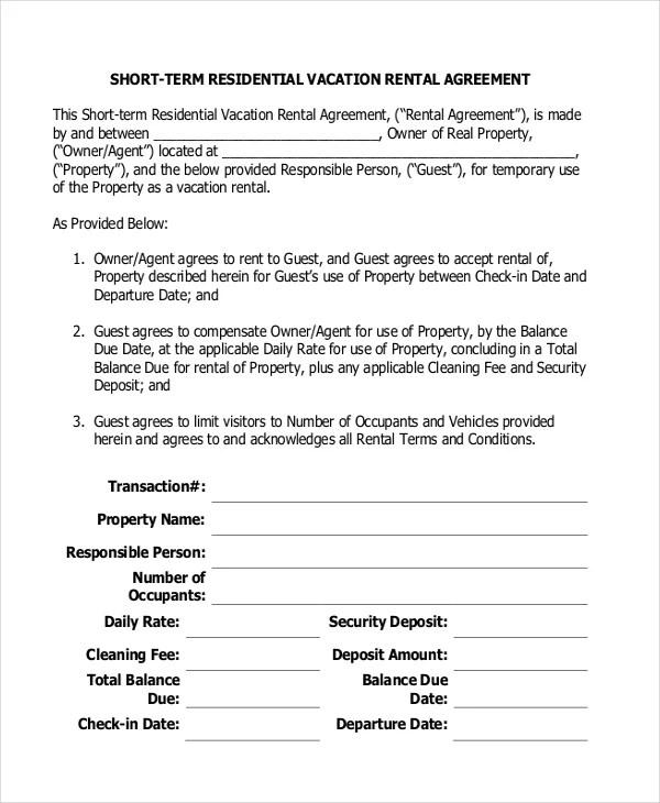 Short Term Rental Agreement 10 Free Word PDF Documents