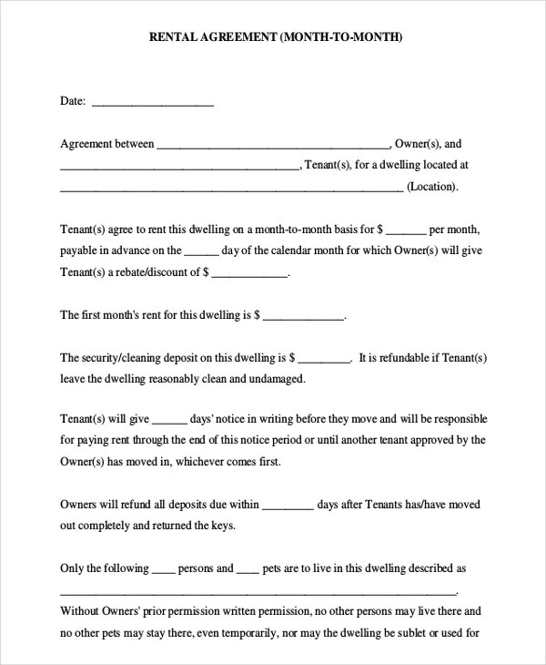 10 Month To Month Rental Agreement Free Sample Example Format Download Free Amp Premium