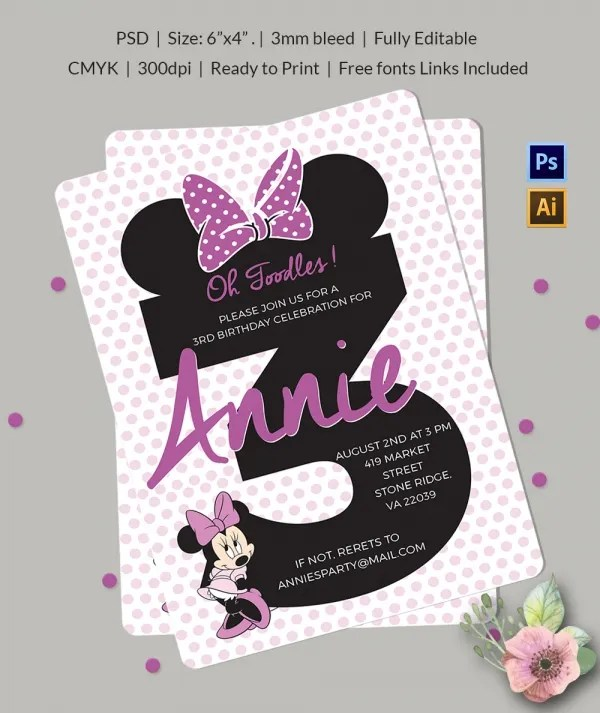 Minnie Mouse Third Birthday Party Invitations