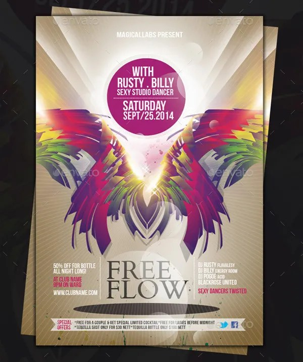 Free Flyer Templates     38  Free PDF  PSD  AI  Vector EPS Format     Best Free Flow Flyer Template