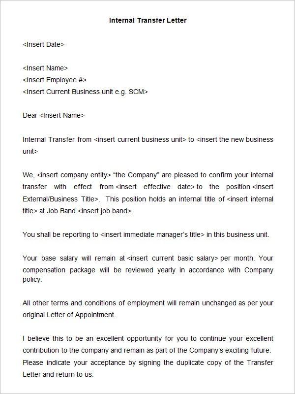 Application Letter For Internal Position Sample