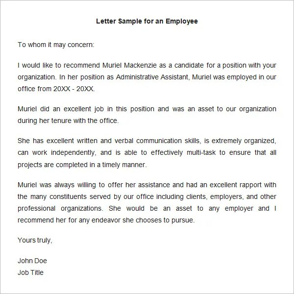 letter of recommendation for former employee