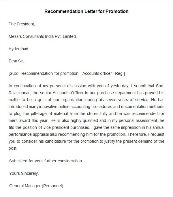 employment letters of recommendation samples