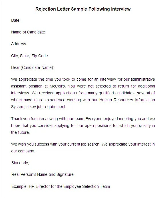 Sample Letter Of Job Rejection After Interview - Cover Letter ...