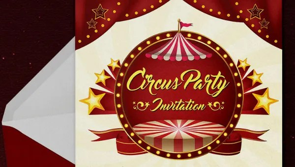 25 circus party invitation templates