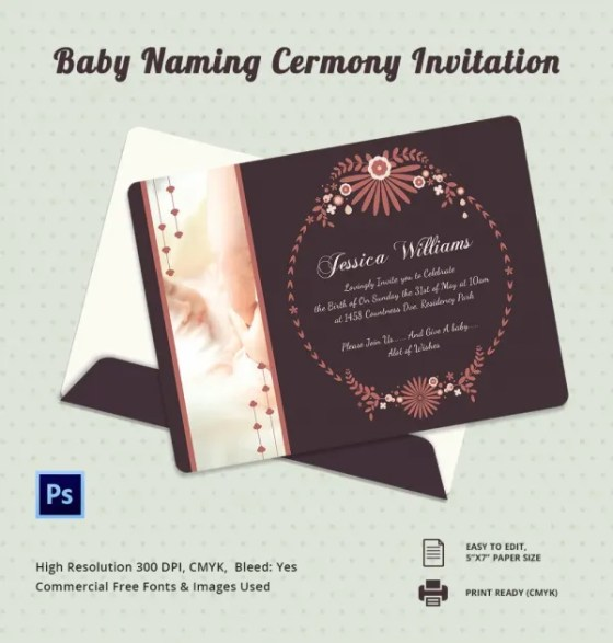 Invitation Cards For Baby Naming Ceremony In English  Wedding