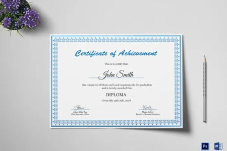 Diploma Certificate Template   30  Free Word  PDF  PSD  EPS     Achievement Diploma Certificate Template PSD