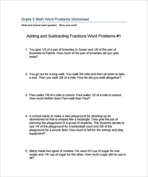 Adding fractions word problems worksheet pdf
