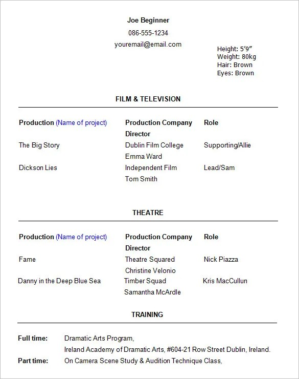 10 acting resume templates free samples examples formats - Sample Theater Resume
