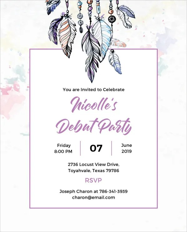 27 debut invitation templates psd