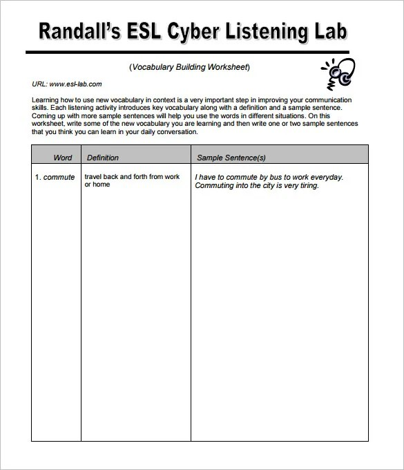 Printable Student Dictionary Template