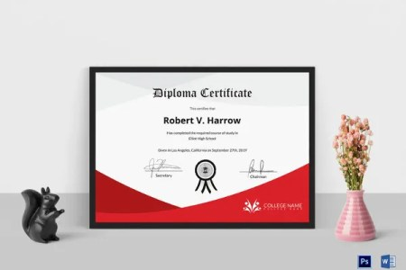 Diploma Certificate Template   30  Free Word  PDF  PSD  EPS     Diploma Certificate Template in PSD and MS Word Format