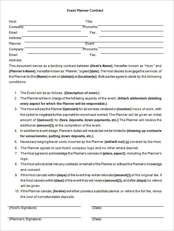Event Contract Template 14 Free Word Excel PDF Documents Download Free Amp Premium Templates