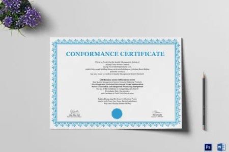 28  Professional Certificate Templates   DOC  PDF   Free   Premium     General Professional Comformance Certificate Template