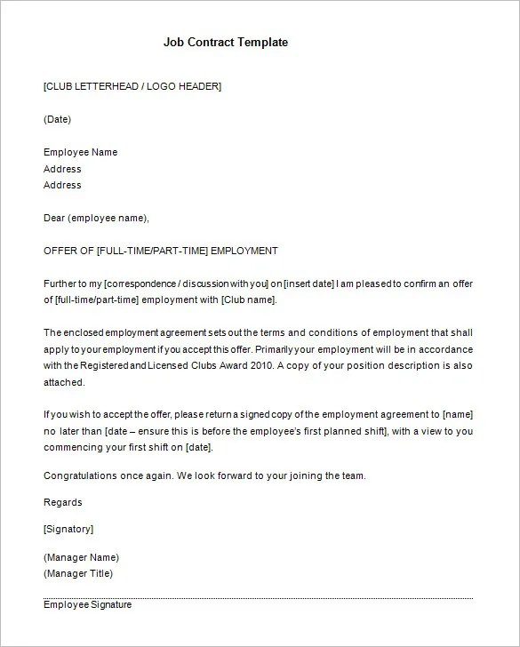 job contracts templates