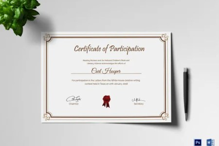 25  Participation Certificate Templates   PDF  DOC  PSD F   Free     Premium Writing Contest Participation Certificate Template