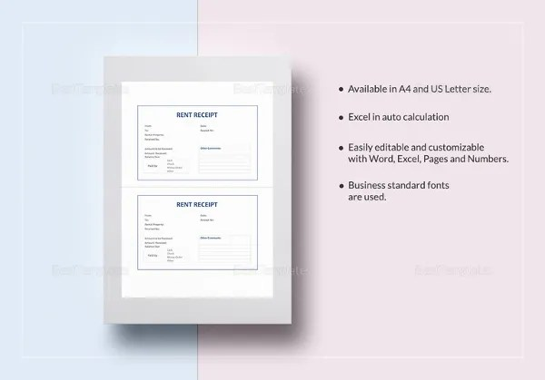 Sample Receipt Template     14  Free Word  Excel  PDF Format Download     Rent Receipt Template in Word
